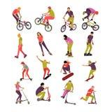 Vektorsatz Leute auf Fahrrad, Skateboard, Rollen und Roller Sportdesignikonen Jugendlicher macht Tricks, Bremsungen vektor abbildung