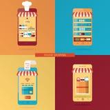 Vektorsatz on-line-Einkaufen, on-line-Lebensmittellieferung Lizenzfreie Stockbilder