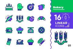 Vektorsatz lineare Ikonen, Bäckerei und Kochen Umb. der hohen Qualität Lizenzfreie Stockbilder