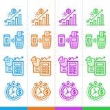 Vektorsatz lineare Ikonen, Finanzierung, habend ein Bankkonto Passend für websi Stockbild