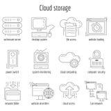 Vektorsatz linearer Ikonen Wolkenspeicher Stockfoto