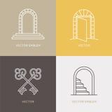 Vektorsatz Logodesignschablonen und -embleme in modischem linearem stock abbildung