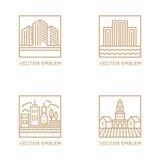 Vektorsatz Logodesignschablonen und -symbole in modischem linearem vektor abbildung