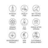 Vektorsatz Logos, Ausweise und Ikonen für natürliches eco freundliche handgemachte Produkte, organische Kosmetik, strenger Vegeta vektor abbildung