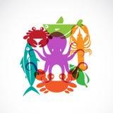 Vektorsatz Meeresfrüchtesymbole Lizenzfreie Stockbilder