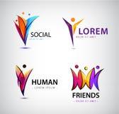 Vektorsatz menschliche Logos Männer gruppieren, Führer, soziale Gruppe, Netz vektor abbildung
