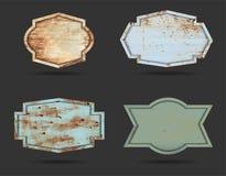 Vektorsatz Metallschild-Zeichenplatten-Beschaffenheitshintergrund lizenzfreie stockfotografie