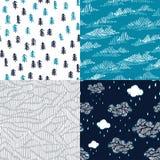 Vektorsatz mit Skizzenreisebeschaffenheiten Nahtlose Muster Stockbilder