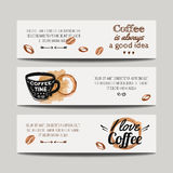 Vektorsatz moderne Fahnen mit Kaffeehintergründen Lizenzfreies Stockfoto