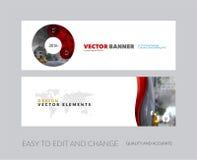 Vektorsatz moderne horizontale Websitefahnen mit Kreis roun Stockbilder