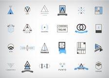 Vektorsatz moderne und minimale Entwurfslogos, geometrisch - Quadrat, Kreis, Dreieck stock abbildung