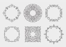 Vektorsatz Monogrammrahmen, Kreise weinlese lizenzfreie abbildung