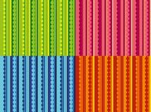 Vektorsatz Muster mit Streifen und Punkten Stockbilder