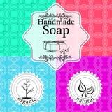 Vektorsatz nahtlose Muster, Aufkleber und Logo entwerfen Schablonen für handgemachte Seifenverpackung und -Packpapier Stockfotos