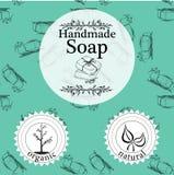 Vektorsatz nahtlose Muster, Aufkleber und Logo entwerfen Schablonen für handgemachte Seifenverpackung und -Packpapier Lizenzfreies Stockfoto