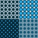 Vektorsatz nahtlose Muster mit Blumen Lizenzfreies Stockbild