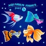 Vektorsatz nette Frischwasseraquariumfische Teil 2 Stockbild