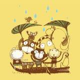 Vektorsatz nette Waldtiere, wilde Tiere, Zeichentrickfilm-Figuren werden auf weißem lokalisiert und regnen Tagespartei, vectorVec vektor abbildung