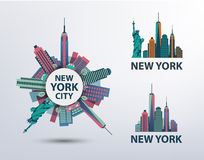 Vektorsatz NYC, New- York Cityikonen, Logos lizenzfreie stockfotografie