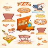 Vektorsatz Pizzaikonen, Aufkleber, Zeichen, Symbole Stockbilder