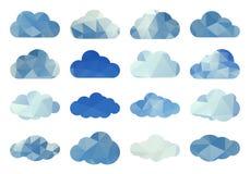 Vektorsatz Polygonwolken Lizenzfreie Stockbilder