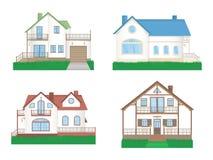 Vektorsatz private bunte Häuser mit Gras vektor abbildung