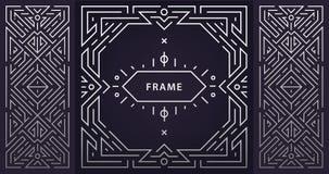 Vektorsatz Rahmen deco der abstrakten Kunst Lineare moderne Art, geometrische Fahnen des Monogramms, Luxusverpackungsgestaltung,  lizenzfreie abbildung