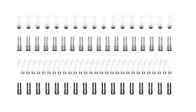 Vektorsatz realistische Bilder von silbernen, Schwarzweiss-Spiralen f?r Notizbuch, Kalender, zeichnendes Album stock abbildung