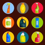 Vektorsatz Reinigungswerkzeuge Flache Designart Stockfotografie