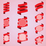 Vektorsatz rote Bänder, Aufkleber, Aufkleber Stockfotografie