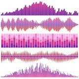 Vektorsatz rote Schallwellen Audioentzerrer Ton-u. Audio-Wellen stock abbildung