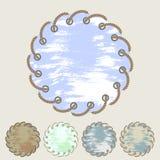 Vektorsatz runde Aufkleber und Aufkleber mit Seeseil Stockfotos