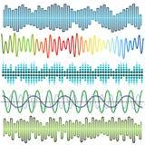 Vektorsatz Schallwellen Audioentzerrer Ton-u. Audio-Wellen vektor abbildung