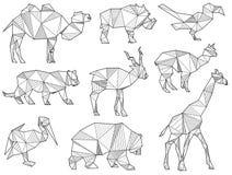 Vektorsatz Schattenbilder des wilden Tieres des Origamis lizenzfreie stockfotos