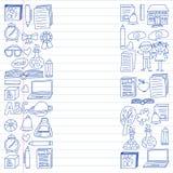 Vektorsatz Sekundärschuleikonen in der Gekritzelart Gemalt, gezeichnet mit einem Stift, auf einem Blatt des karierten Papiers auf stock abbildung