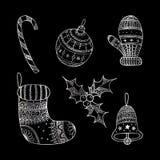 Vektorsatz silbernes Weihnachtsdekorative Symbole Stockbilder