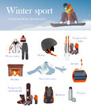Vektorsatz Ski- und Snowboardausrüstung Ikonen Stockbild