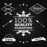 Vektorsatz Stempel für Verkauf, Rabatte, Werbung, Qualitätsprodukt auf der Tafel Stockfoto