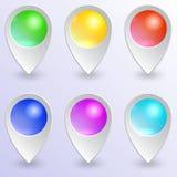 Vektorsatz Stifte der farbigen Karte stock abbildung