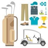 Vektorsatz stilisierte Golfikonenhobbyausrüstungssammlungswarenkorbgolfspielerspieler-Sportsymbole Lizenzfreies Stockbild