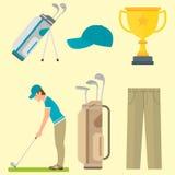 Vektorsatz stilisierte Golfikonenhobbyausrüstungssammlungswarenkorbgolfspielerspieler-Sportsymbole Stockbild