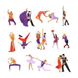 Vektorsatz Tanzenleute Tanzgestaltungselemente und -ikonen stock abbildung