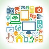 Vektorsatz Technologieikonen in der flachen Art Lizenzfreies Stockbild