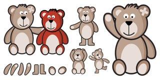 Vektorsatz Teddybären völlig customizabled Stockbilder
