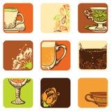 Vektorsatz Tee-/Kaffeeikonen Stockbild