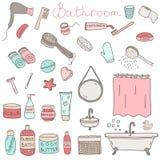 Vektorsatz themenorientierte Gegenstände und Geräte des gezogenen Badezimmers Stockfotos