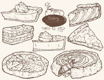 Vektorsatz, -torte und -scheiben mit Kürbisfüllung stock abbildung