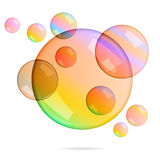 Vektorsatz transparente Blasen Stockfotos