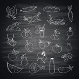 Vektorsatz unterschiedliche Hand gezeichnetes Lebensmittel Stockfotos