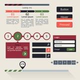 Vektorsatz verschiedene Elemente, die für Benutzerschnittstelle benutzt werden, projektiert Stockbilder
